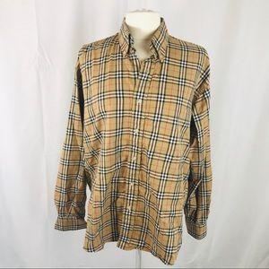 Burberry Plaid Check Stretch M Cotton Shirt